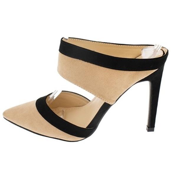 Shoes - Adorah Nude & Black Pointed Toe Mule